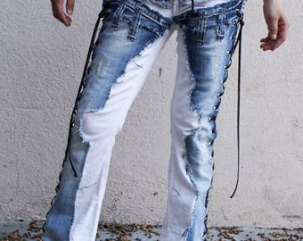 Blue denim on a pair of vintage white jeans