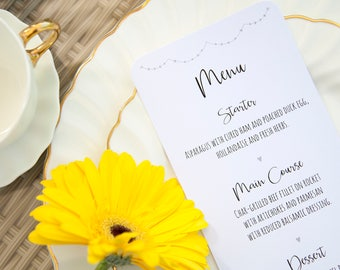 Silver / Grey Heart Bunting Table Menu
