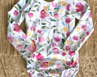 Baby & Girls Leotard, Watercolor Spring Floral