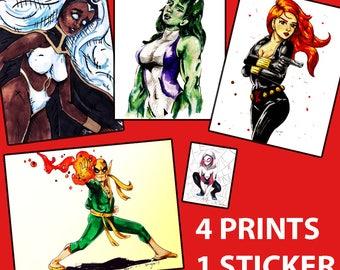 MARVEL PACK Sale 4 for 3 Plus FREE Sticker fan art