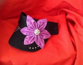 Visor with purple flower