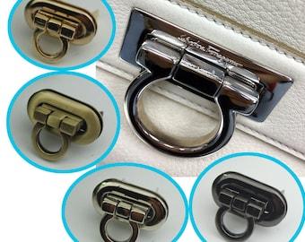 6 pcs Purse lock gold silver brass Gun twist purse turn lock clutch clock Turn Lock Fastner,Purse bag handbag Latch hardware XY041