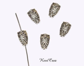 10 x silver plated OWL beads