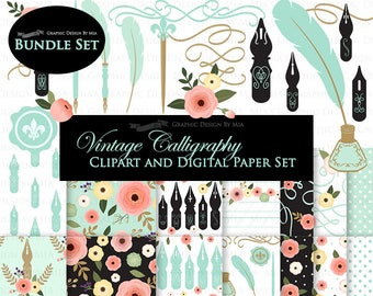Calligraphy and Swirls /  Mint Clip Art + Digital Paper Set - Instant Download
