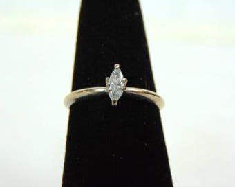 Vintage Estate Women's 14K White Gold, Marquis Diamond Ring, 2.1g E3300