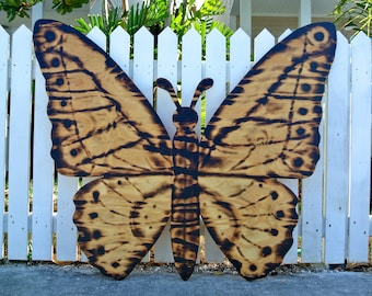 Wooden Butterfly Gift, Large Wood Burning Butterfly Sign, Wall Decor, Housewarming gift for Her
