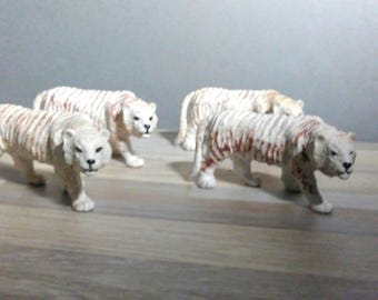 Four Vintaged White Siberian Tiger Plastic Solid Pliable Rubberish Statues Cake Decorating Toy Circus