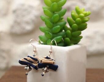 Navy and beige earrings OOAK