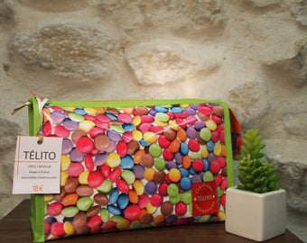 Toiletry bag in oilcloth candy