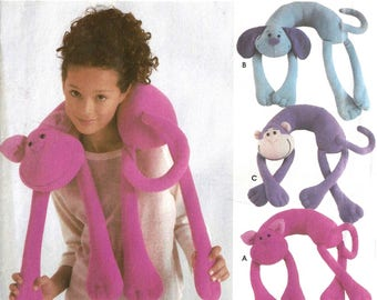 Simplicity Crafts 5310 Sewing Pattern for Child's Animal Neck Pillow Kitty Cat Puppy Dog Monkey and Lion Uncut