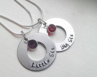 Set of 2 Personalized Little Sister & Big Sister Hand Stamped Washer Necklace With Birthstone - New Sis Birthday Gift Jewelry - Christmas