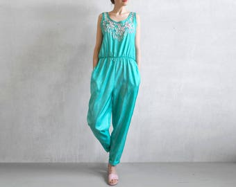 Aqua turquoise jumpsuit with embroidery / 80s aqua jumpsuit / aqua turquoise romper / 80s romper / summer blue overall.