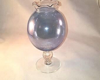 Blue Iridescent Bowl on Pedestal