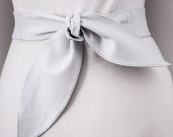 White Leather Sash Belt | Bridal Sash belt | White Leather Belt | Leather Waist Wrap Belt | Obi Belt | Plus Size Accessory | Wide Waist Belt