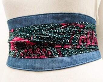 Turquoise Print Denim Belt | Denim corset obi belt | Denim wide waist belt | African Print Denim Corset Belt| Handmade Belt |Plus size belts