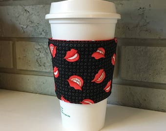 Coffee Cup Cozy, Cup Wrap, Coffee Cuff - Lips - Rocky Horror Picture Show