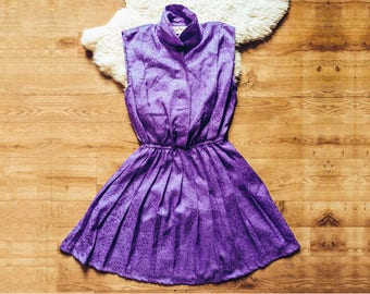 Purple Sundress, Purple Summer Dress, Vintage Dress, Purple Dress, 80s Mini Dress, Pleat Skirt Dress, Sleeveless Dress, Small Medium Dress
