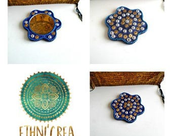 Small purse mirror, boho Indian handmade mosaic mirrors, sequins MF06