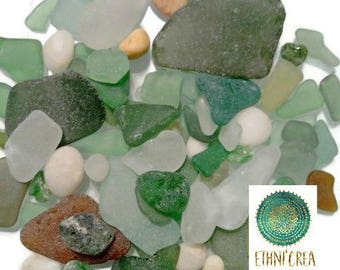 50gr of pieces of glass polished by the sea and pebbles