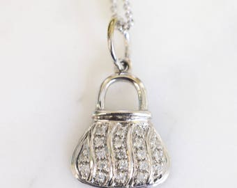 14K White Gold Diamond Purse Design Necklace
