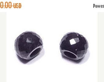 70% OFF Natural Black Obsidian Handmade Faceted Round Loose Beads Pair-8x11mm With 5mm Hole-Free Shipping