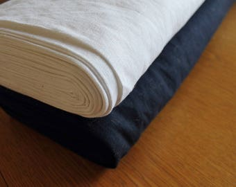Pure 100% Linen in White or Navy bio enzyme eco home decor /dressmaking by the metre