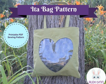 Ita Bag with Hidden Zipper PDF Sewing Pattern - Clear Pocket Tote Downloadable Sewing Pattern & Full Tutorial - Clear Window Bag Pattern