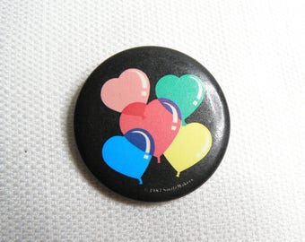 Vintage 80s Cute Kawaii Heart Balloons Pin / Button / Badge (Date Stamped 1987)
