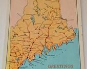 Maine postcard map,  Vintage Postcard, State of Maine, Maine Map, Retro Maine, Maine Decor, Maine Ephemera, Maine Art, Maine Post Card