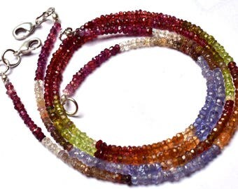 1 Stand 15.5 inch Natural Rare Gem Multi color Garnet Faceted  Rondelle Beads Necklace  3  MM