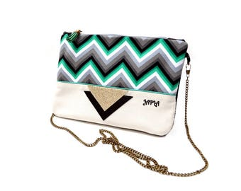 Black, green and gold retro Chevron shoulder bag