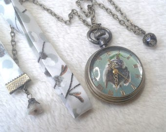 Liberty OWL with gold Pocket Watch necklace
