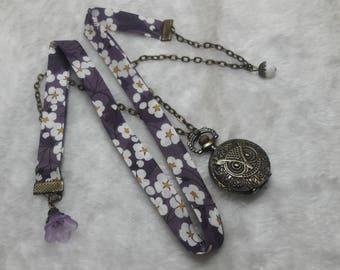 Liberty purple OWL Pocket Watch necklace
