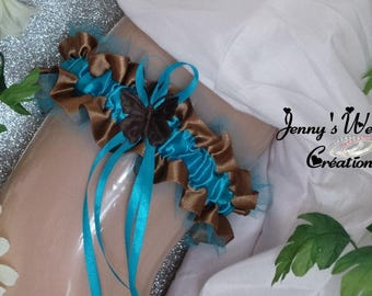 Garter designer model Mariella (chocolate and turquoise)