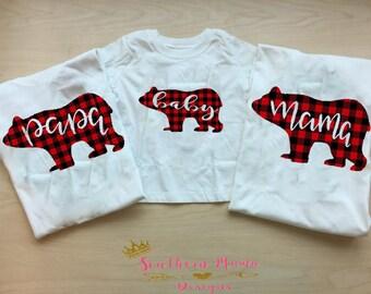 Family Christmas Pajama Tops- Mama Bear. Baby Bear and Papa Bear Christmas Shirts- Family Bear Pajamas- Christmas Shirts