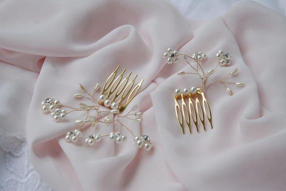 Set of 2 bridal beaded hair combs;ivory bridal hair combs;ivory and gold haircombs