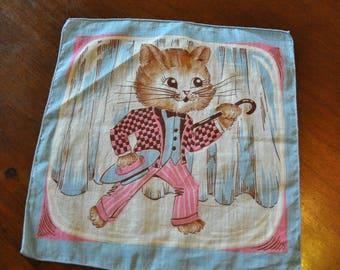 Vintage Cat Hankie, Cat Themed Handkerchief
