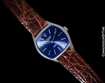 1973 Rolex Cellini Ladies Vintage Dress Watch Ref. 3801, Royal Blue Dial - 18K White Gold