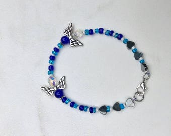 Baby Boy Loss/Boy Loss/Infant Loss/Miscarriage Beaded Blue and White Bracelet with Hematite Hearts and Angels