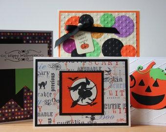 4 Halloween Cards.  Handmade Halloween Card Set.  Assortment of Halloween Cards.  Blank Halloween Cards. Halloween Pumpkin Cards, Fall