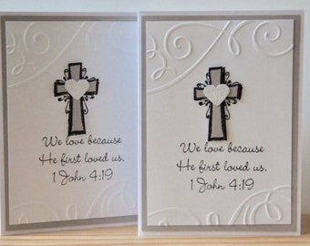 Christian Wedding Card.  Bible Verse Wedding Card.  1 John 4:19.  Religious Wedding Card. Bridal Shower Card. Christian Anniversary Card
