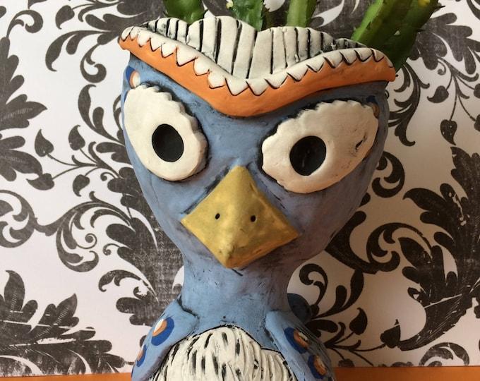 Cornflower Owl // Succulent planter // animal pot // handmade gift // pothead // ceramic // home decor // blue // orange // cute // small