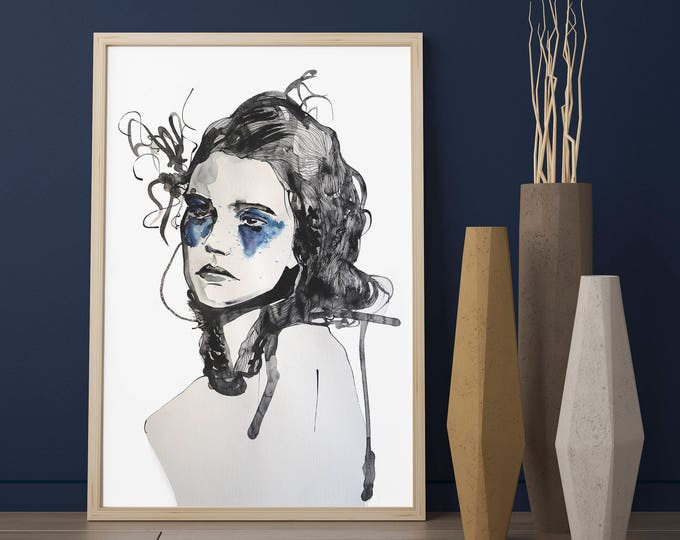Minimalist custom watercolour portrait - amazing gift for wife, girlfriend, best friend, mum or daughter