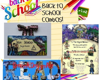 Harry Potter Triple Threat Back to School Combo -- Teacher Sign+Class Rules+Set of 4 READ Letters