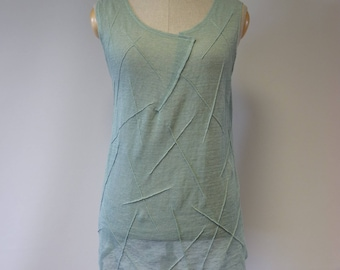 Summer delicate mint colured  blouse, L size.  Made of pure linen.