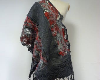 Artsy warm grey with red felted shawl. Perfect for Winter gift.