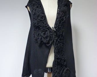 Fashion boho black vest, L size. Made of soft italian wool.