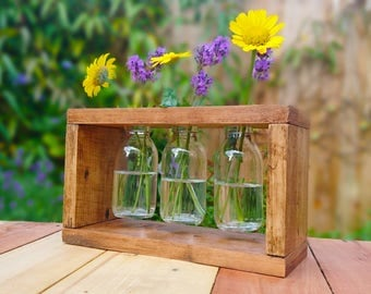 Reclaimed wood and vase centrepiece