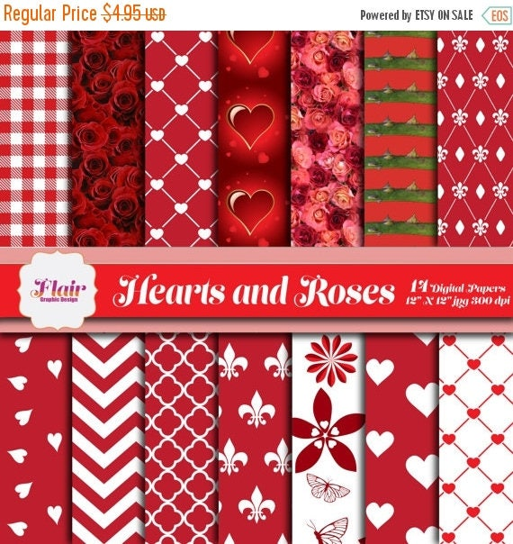 80% OFF HEARTS and ROSES Digital Papers, Valentine\'s Day, Romantic ...
