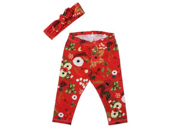 Red Baby Leggings Christmas Leggings Red Floral Berry Leggings Girl Leggings Holiday Leggings Christmas Baby Outfit First Christmas Outfit